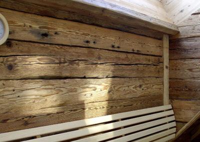 Sauna Altholz Wand